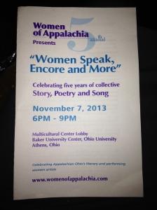 Front cover of Women Speak program for the Fall 2013 Reading